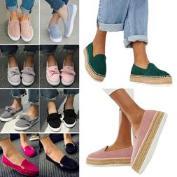 Women's Flat School Work Dolly Loafers Slip On Pumps Shoes O