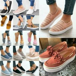 Women's Flats Summer Sneakers Loafers Slip On Comfy Trainers
