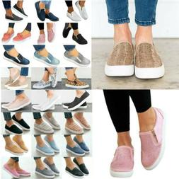 Women's Flats Sneakers Plain Loafers Slip On Comfy Trainers