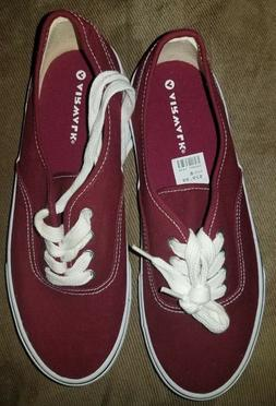 WOMEN'S AIRWALK LACE UP CANVAS SNEAKERS MAROON SHOES SIZE 8
