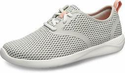 Crocs Women's Literide Mesh Lace-up Sneaker, Pearl White/Whi
