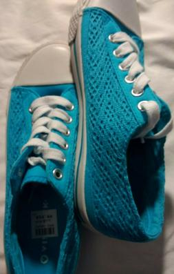 Women's Airwalk Low Top Sneakers Turquoise Blue Lace Size 6