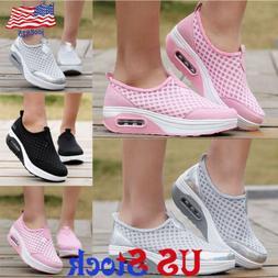 Women's Mesh Platform Shoes Breathable Slip On Running Sneak