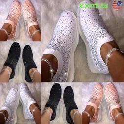 Women's Sequin Glitter Party Sneakers Slip On Casual Walking
