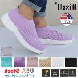 Women's Sneakers Knitted Mesh Breathable Shoes Walking Slip