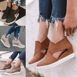 Women's Wedge Hidden Heels Sneakers Trainers Sandals Zipper