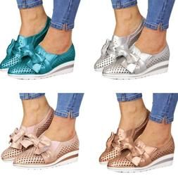 Women's Wedge Hollowed Loafers Pumps Slip-Ons Trainers Sneak