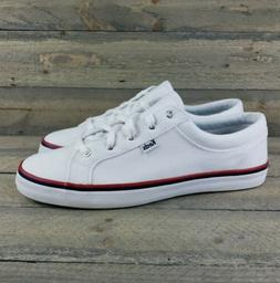 Keds Women's White Canvas Preppy Striped Sneakers  New