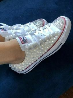Women's White Pearl and Bling Converse Sneakers for Bride an