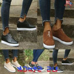 Women's Zipper Loafers Camo Pumps Shoes Summer Casual Slip O