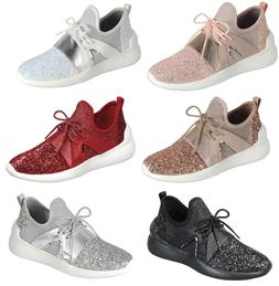 Women Sequin Glitter Athletic Joggers Lace-Up Fashion Shoes
