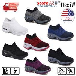Women Sport Air Cushion Sneakers Breathable Mesh Walking Sli