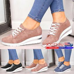 Women Wedge Sneakers Trainer Breathable Lace Up Casual Pumps