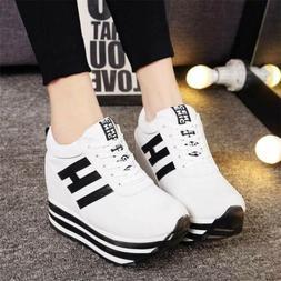 Womens Athletic Hidden Casual Thick Heel Wedge Platform Snea