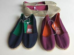 Womens Canvas Ballet Flat Espadrille Cotton Loafer Slip On C