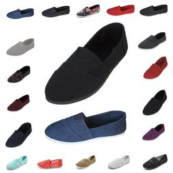 Womens Canvas Flat Espadrille Shoes Slip On Ballet Loafer Co