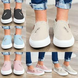 Women's Slip On Flat Canvas Loafers Pumps Casual Trainers Sn