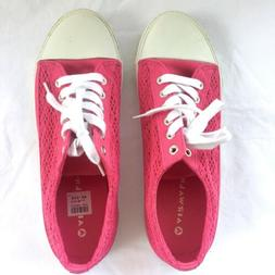 Airwalk Womens Canvas Sneakers Size 9.5 Hot Pink Lace Tie Sh