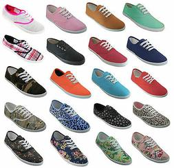 Womens Classic Plimsoll Sneaker Lace Up Fashion Canvas Shoes
