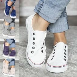 Women's Denim Shoes Canvas Loafers Pumps Sports Slip On Flat