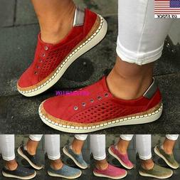Womens Denim Canvas Loafers Pumps Casual Slip On Flat Traine