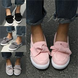 US Women Flat Casual Sneakers Bow Comfy Slip On Trainers Pli