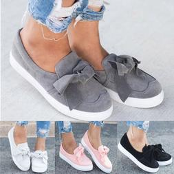 Womens Flat Casual Sneakers Bow Comfy Slip On Trainers Plims