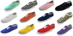 Womens Girls Canvas Plimsoll Shoes Sneakers lace Up Sizes 5-