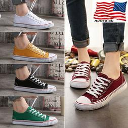 Womens Girls Classic Lace Up Canvas Shoes Casual Comfort Sne