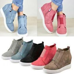 Womens Hidden Wedge Low Mid Heel Ankle Boots Sneakers Traine