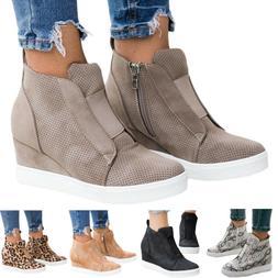 Womens Hidden Wedge Sneakers Ankle Boots Platform Slip On Zi