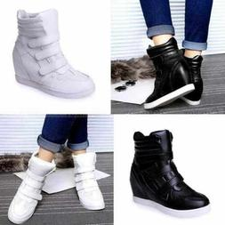 Womens High Top Hidden Wedge Sneakers Casual Shoes Woman Ank
