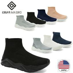 DREAM PAIRS Womens Knit High Top Sock Fashion Sneakers Light