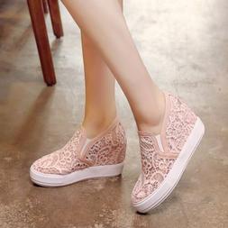 Womens Lace Floral Hidden Wedge Heels Slip On Platform Sneak