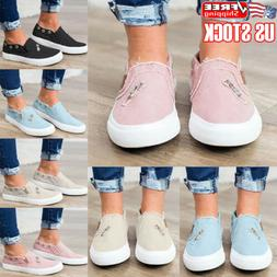 Womens Ladies Denim Canvas Loafers Pumps Casual Slip On Flat