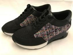 The Fix Womens Lexi Frayed Silk Trim Sneaker Black Multi Twe
