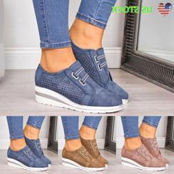 Womens Round Toe Wedge Heel Sneakers Slip on Low Top Casual
