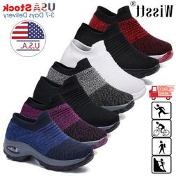 Womens Sport Air Cushion Sneakers Breathable Walking Slip-On